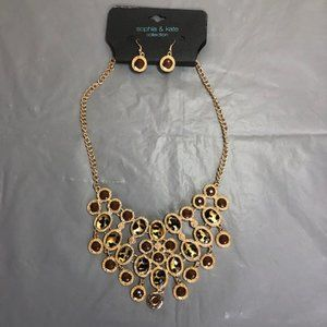 Gold Toned Sophia & Kate Necklace & Earrings.NWT!